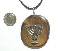 Necklace Pendant Menorah Israeli olive wood by JudaicaBennysArt
