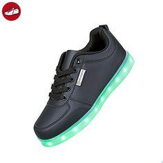 7Farbe Unisex Herren Damen USB Ladekabel LED Licht beleuchtet Blinkern Schuhe Sports Sneaker mit Zertifikat dieses, Schwarz - Schwarz - schwarz - Größe: 38 (*Partner-Link)