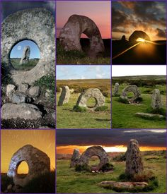 """The Mên-an-Tol (also Men an Toll) is a small formation of standing stones in Cornwall. It is about three miles northwest of Madron. It is also known locally as the """"Crick Stone"""". Location: The Mên-an-Tol stands near the Madron to Morvah road in Cornwall. Other antiquities in the vicinity include the Mên Scryfa inscribed stone about 300 metres to the north, and the Boskednan stone circle less than 1 kilometre to the northeast. Etymology: The name Mên-an-Tol in the Cornish Language literally…"""