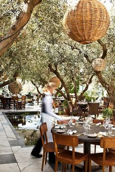 SoHo House, Rooftop restaurant in California by margaret // LOVE the basket fixtures