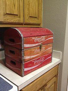 Vintage Coca Cola Wooden Crate Box Chest
