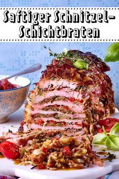 Schnitzel-Schichtbraten - auf dieses #Rezept steht die ganze Familie! Kein Wunder, #Schnitzel türmen sich köstlich gefüllt zum #Braten !