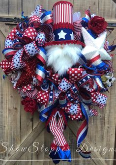 Pin by showstopper designs = home decor that takes centerstage on trendy tree custom wreath designer creations Deco Mesh Wreaths, Door Wreaths, Burlap Wreaths, Patriotic Wreath, 4th Of July Wreath, Welcome Home Soldier, Wreath Making Supplies, Porch Decorating, Holiday Decorating
