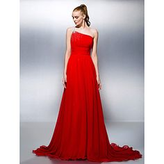 Formal+Evening+Dress+-+Ruby+Plus+Sizes+/+Petite+A-line+/+Princess+One+Shoulder+Court+Train+Georgette+–+USD+$+109.99