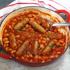 A quick and easy family dinner recipe; Sausage & Butterbean Casserole, cooked on the hob in less than 30 minutes! Sausage Recipes, Casserole Recipes, Beef Recipes, Cooking Recipes, Healthy Recipes, Family Recipes, Healthy Family Dinners, Midweek Meals, Easy Meals