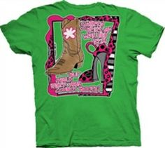 Southern Belle Funny High Heels Cowboy Boots Girlie Bright T Shirt | SimplyCuteTees