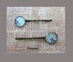 Barrettes rétros liberty phoebe gris : Accessoires coiffure par crocmyys