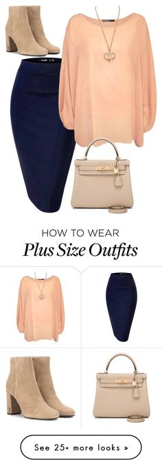"""""""plus size cora"""" by aleger-1 on Polyvore featuring WearAll, Yves Saint Laurent and Hermès"""
