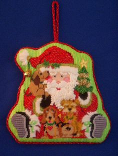 Santa with puppies ornament ~ Canvas by Strictly Christmas