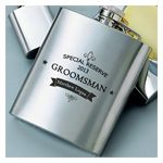 """Your best man and groomsmen can keep their finest libation fresh in this classy personalized """"Private Label"""" flask, handsomely adorned with a black insignia and the words """"Special Reserve"""" this flask can be personalized with name and date."""