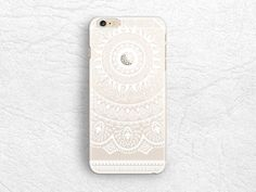 White Mandala matte transparent floral phone case for iPhone 6/6s Sony z3 z4 H