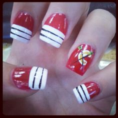 my niece the hockey nut had them do a chicago blackhawks theme today (june at a nail salon in southern california in honour of the team currently being in stanley cup playoff mode! Hockey Nails, Sports Nail Art, Stanley Cup Playoffs, Funky Nails, Chicago Blackhawks, Mani Pedi, Southern California, Claws, Goal