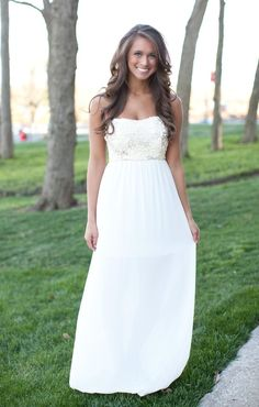 The Pink Lily Boutique - Fall In Love Maxi White, $44.00 (http://thepinklilyboutique.com/fall-in-love-maxi-white/)