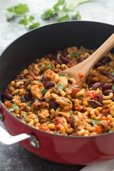 This One Pot BBQ Chicken Chili Mac is the perfect meal in one! It's loaded with protein, fiber, veggies and made in one skillet in 30 minutes!