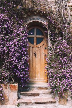 Lantana montevidensis scrambling around a doorway in Bormes-les-Mimosas, a village in Provence Alpes Côte d'Azur, France Cool Doors, Unique Doors, Door Knockers, Door Decs, Closed Doors, Doorway, Windows And Doors, Belle Photo, Arches
