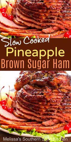 Slow Cooked Pineapple Brown Sugar Glazed Ham - New Ideas Ham Recipes, Slow Cooker Recipes, Seafood Recipes, Cooking Recipes, Barbecue Recipes, Easter Dinner Recipes, Healthy Dinner Recipes, Chop Suey, Slow Cooked Ham