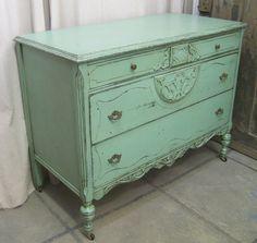 vintage shabby aqua painted 1903's dresser/chest.