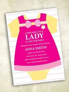 Girl Clothes Baby Shower Invitation  digital by FrillyJillyDesign