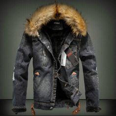 01324fbb0b2 Autumn and Winter Men Casual Denim Retro Jacket Nagymaros Collar Cashmere  Coat