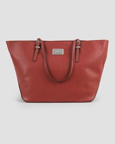 """It Girl"" Faux Leather Large Tote, Main View"