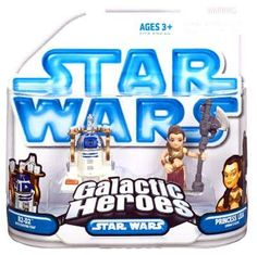 Star Wars Galactic Heroes Mini Figure 2Pack R2D2 with Serving Tray Princess Leia Jabbas Slave