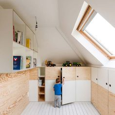 All time best attic storage,Attic bathroom sloped ceiling designs and Attic renovation company. Attic Bedroom Small, Attic Playroom, Attic Bathroom, Attic Spaces, Attic Rooms, Attic Office, Bathroom Storage, Kitchen Storage, Bathroom Ideas