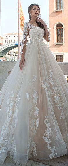 Junoesque Tüll Scoop Ausschnitt A-Linie Brautkleider mit L ...  #ausschnitt #brautkleider #junoesque #linie #scoop