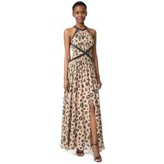 L'AGENCE Marvella Contrast Maxi Dress ($725) ❤ liked on Polyvore featuring dresses, chanterelle combo, halter top, brown dress, long dresses, long slit dress and halter neck maxi dress