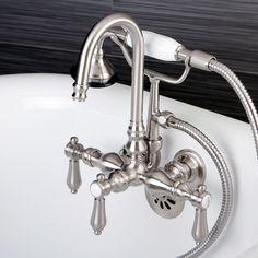 Kingston Bathtub Wall-Mount Claw Foot Tub Filler with Handshower in Satin Nickel