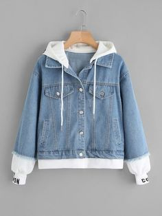 Shop 2 In 1 Ribbed Knit Trim Hooded Denim Jacket online. SheIn offers 2 In 1 Ribbed Knit Trim Hooded Denim Jacket & more to fit your fashionable needs. Girls Fashion Clothes, Teen Fashion Outfits, Fashion For Men, Sporty Fashion, Fashion Black, Fashion Styles, Fashion Fashion, Fashion Ideas, Vintage Fashion