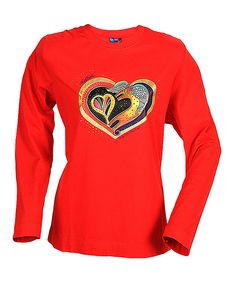 Red & Yellow Heart of My Heart Long-Sleeve Tee | zulily