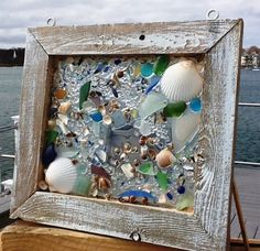 Hanging Beach Glass Windows by beachcreation on Etsy Sea Glass Crafts, Sea Glass Art, Seashell Crafts, Beach Crafts, Mosaic Art, Mosaic Glass, Stained Glass, Window Art, Window Ideas