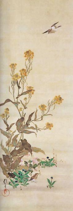 February. From a Birds and Flowers series. Japanese hanging scroll. Edo period. 19th century. Sakai Hoitsu. Rimpa style.