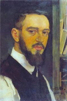 Konstantin Yuon    Completion Date: 1912    Style: Art Nouveau (Modern)    Genre: self-portrait    Technique: oil    Material: canvas    Dimensions: 54 x 36 cm    Gallery: State Russian Museum, St. Petersburg, Russia
