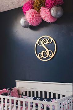 Stella Kate's Nursery! Navy, pink, gold, and grey nursery
