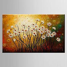 pintura a óleo pinturas florais / botânico decoração com flores mão abstrata telas pintadas com esticada enquadrado m / l / xl de 3349475 2016 por R$220,94