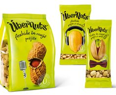 Übernuts | funny design on these stand up pouches for nuts