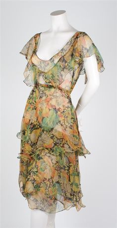 Silk Chiffon Floral French Couture Dress,   1920s. Image © Leslie Hindman Auctioneers, Inc.