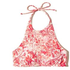 Hollister Halter High-Neck Bikini Top (€30) ❤ liked on Polyvore featuring swimwear, bikinis, bikini tops, pink print, high neck halter top bikini, high neck bikini top, high neck tankini top, halter tankini tops and halter bikini
