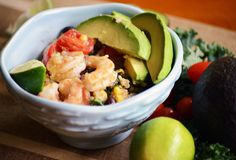 Chipotle Shrimp Quinoa Bowls: Quick and easy clean burrito bowls made with kale, black beans, & corn