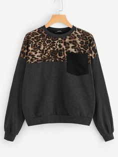 To find out about the Leopard Panel Pocket Patched Pullover at SHEIN, part of our latest Sweatshirts ready to shop online today! Cute Sweatshirts, Hoodies, Patagonia Pullover, Sweaters And Jeans, Cardigans, Half Zip Pullover, Winter Dresses, Ladies Dress Design, Fashion News