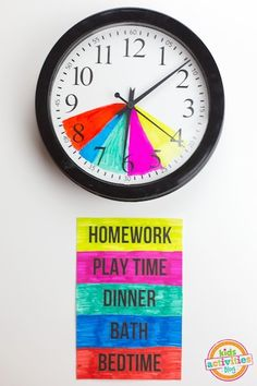Help kids with schedules to know what time it is and what they should be doing This seems like a good idea but homework play and dinner only having 5 minutes before something else start...