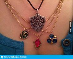 Zelda necklaces; one of each, please.