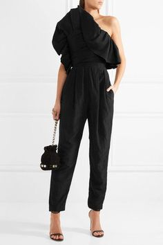 Carmen March - One-shoulder Ruffled Taffeta Jumpsuit - Black - FR36