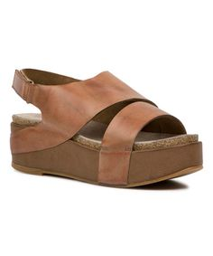 Love this Mustard Leather Platform Sandal on #zulily!