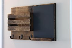 Chalkboard Mail Organizer, Mail Holder, Mail,  Rustic Organizer, Key Holder, Mail Organizer, Personalized Option Available by Rustastic on Etsy https://www.etsy.com/listing/237316230/chalkboard-mail-organizer-mail-holder