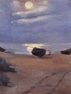 Anna Ancher (Danish painter, 1859-1935) - Boats in the Moonlight on South Beach