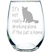 It's not really drinking alone if the dog is home stemless wine glass, 15 oz. Perfect Dog Lover Gift for him or her (dog) - Laser Engraved promoted by Main Street Mobile Billboards Cat Gifts, Cat Lover Gifts, Gifts For Him, Gifts For Women, Cat Laser, Cat Wine, Wine Tasting Party, Handmade Kitchens, Diy For Men