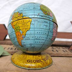 Vintage tin litho globe bank