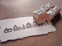houses and pine trees rubber stamp strip to make rows - #house #tree #stamp